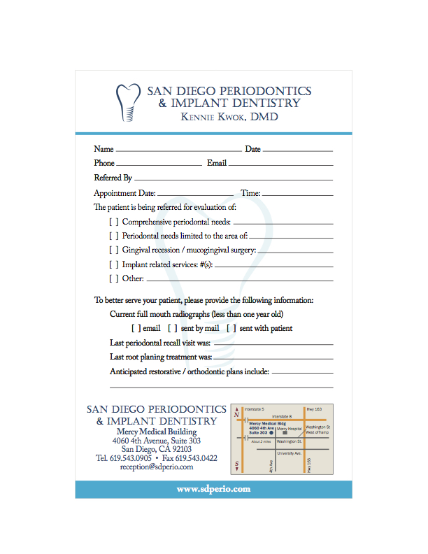 Referral Slip San Diego Periodontics Implant Dentistry